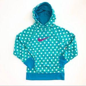 Nike blue-green fleece polka-dot hoodie sweatshirt